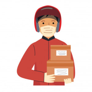 delivery man during-pandemic-covid-19-prevention-coronavirus-courier-wear-face-mask